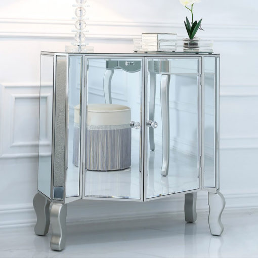 Amelia Mirrored Silver 2 Door Cabinet Sideboard With Crystal Handles