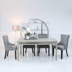 Bayside Mirrored 180cm Dining Table and 6 Grey Velvet Chairs Set