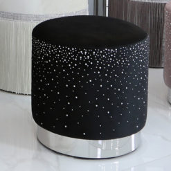 Black Round Stool With Velvet Fabric Adorned With Sparkling Diamantes