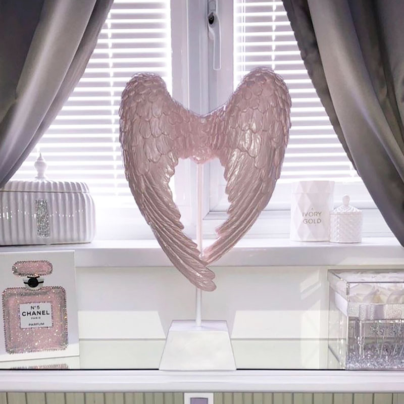 Blush Pink Angel Wing Decoration Sculpture Ornament On Stand