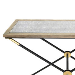 Byron Console Table With A Black And Gold Frame And Wood And Glass Top
