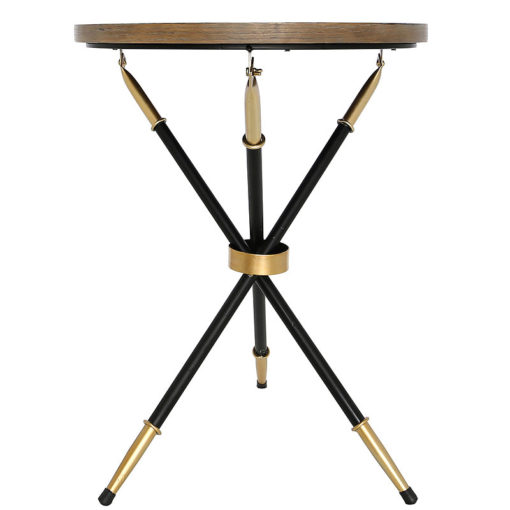 Byron End Table With A Black And Gold Frame And Wood And Glass Top