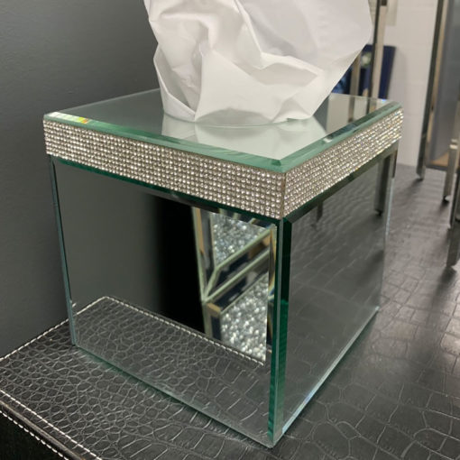 Diamond Glitz Mirrored Cube Tissue Box Holder