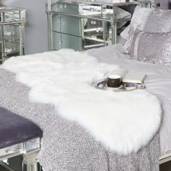 Double White Pelt Faux Fur Sheepskin Rug