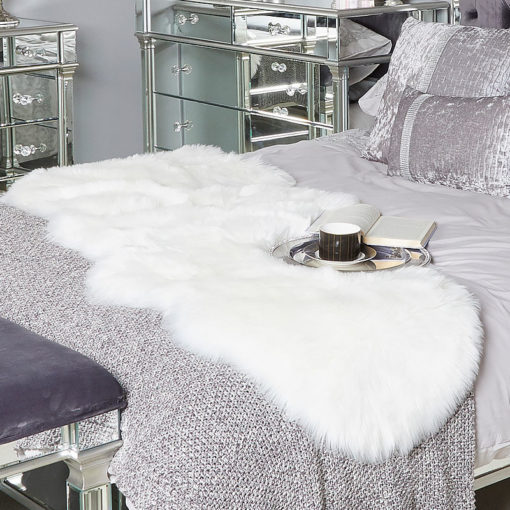 Double White Pelt Faux Fur Sheepskin Rug (65x200)