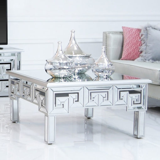 Eleos Mirrored Coffee Lounge Table With A Geometric Vector Design