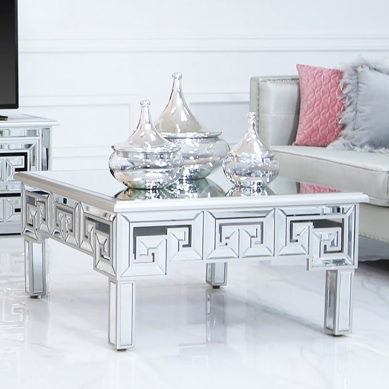Astounding Eleos Mirrored Coffee Lounge Table With A Geometric Vector Design Dailytribune Chair Design For Home Dailytribuneorg