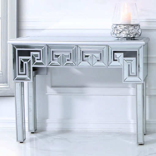 Eleos Mirrored Console Dressing Table With A Geometric Vector Design