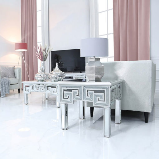 Eleos Mirrored End Side Table With A Geometric Vector Design