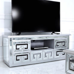 Eleos Mirrored Entertainment Unit TV Cabinet With A Geometric Design