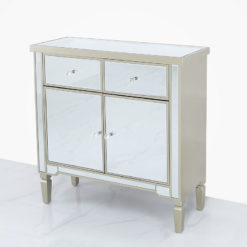 Georgia Champagne Luxe Mirrored 2 Drawer 2 Door Cabinet Sideboard