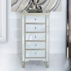 Georgia Champagne Luxe Mirrored 5 Drawer Tallboy Chest Of Drawers