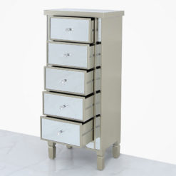 Georgia Champagne Luxe Mirrored 5 Drawer Cabinet Chest Of Drawers