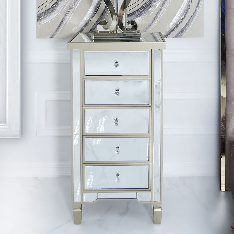 Georgia Champagne Luxe Mirrored 5 Drawer Tallboy Chest Of Drawers Picture Perfect Home