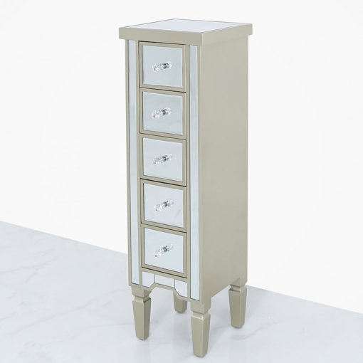 Georgia Champagne Luxe Mirrored 5 Drawer Tallboy Cabinet Chest