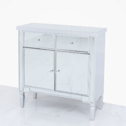 Georgia Silver Mirrored 2 Drawer 2 Door Cabinet Sideboard Chest