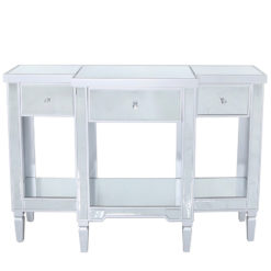 Georgia Silver Mirrored 3 Drawer Console Table Dressing Table