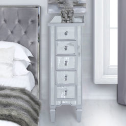 Georgia Silver Mirrored 5 Drawer Slim Tallboy Cabinet Chest Of Drawers