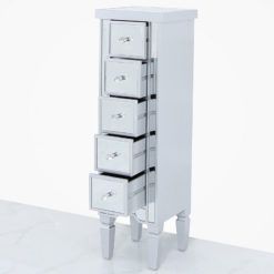 Georgia Silver Mirrored 5 Drawer Tallboy Cabinet Chest Of Drawers