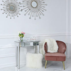 Georgia Silver Wood Trim Mirrored 1 Drawer Console Dressing Table