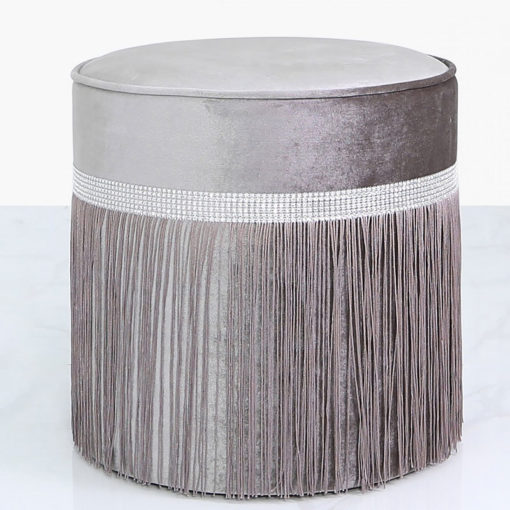 Grey Round Stool In Ruched Velvet With A Glittering Diamante Band