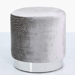 Grey Round Stool With Velvet Fabric Adorned With Sparkling Diamantes
