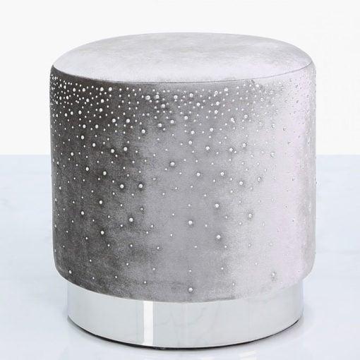 Grey Round Stool With Velvet Fabric Adorned With Sparkling Diamantes