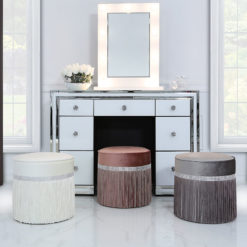 Grey Velvet Round Stool With A Glittering Diamante Band And Tassels
