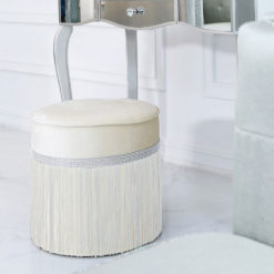 Ivory Round Stool In Ruched Velvet With A Glittering Diamante Band