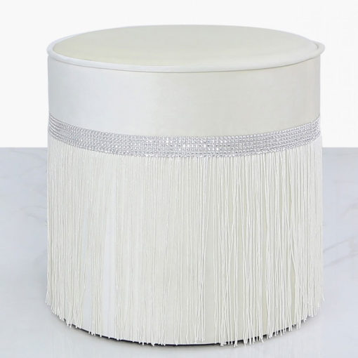 Ivory Velvet Round Stool With A Glittering Diamante Band And Tassels