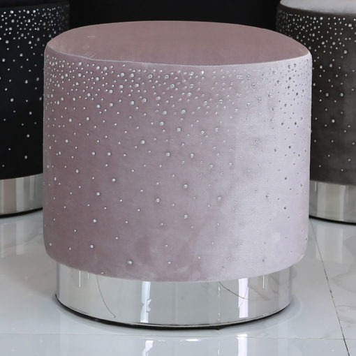 Lavender Round Stool With Velvet Fabric And Sparkling Diamantes