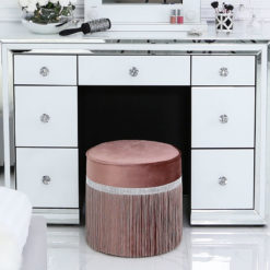 Pink Round Stool In Ruched Velvet With A Glittering Diamante Band