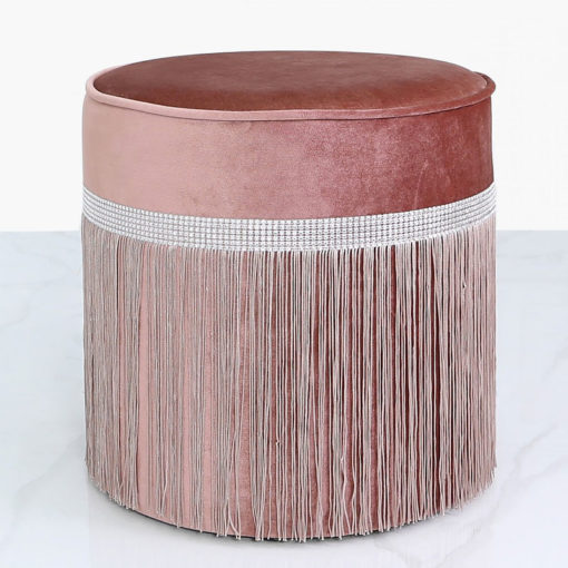 Salmon Pink Velvet Round Stool With A Glittering Diamante Band And Tassels