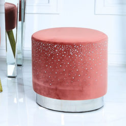 Salmon Pink Round Stool With Velvet Fabric Adorned With Sparkling Diamantes