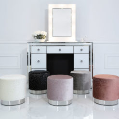 Round Stool With Velvet Fabric Adorned With Sparkling Diamantes