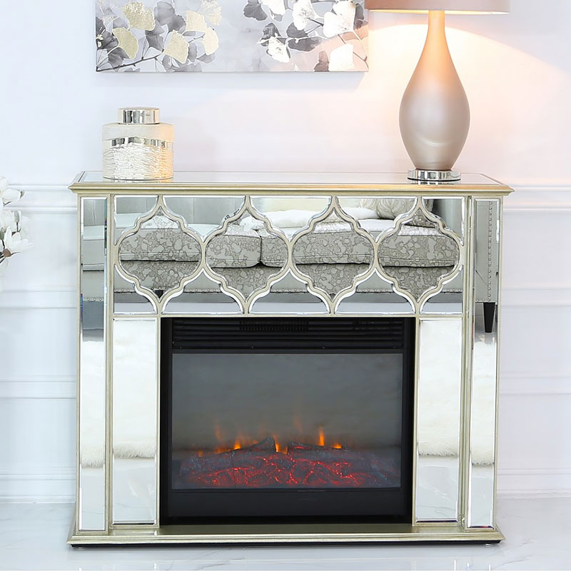 Sahara Marrakech Moroccan Gold Mirrored Electric Fireplace Surround