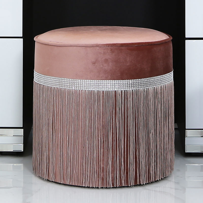 Salmon Pink Velvet Round Stool With A Glittering Diamante