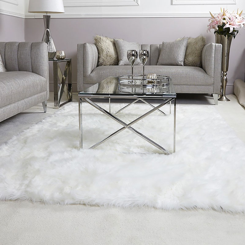 White Faux Fur Rug 140 215 200 Picture Perfect Home
