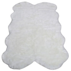 White Four Pelt Faux Fur Sheepskin Rug (130x200)