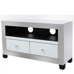 Arctic White Mirrored Glass TV Stand Entertainment Unit Cabinet