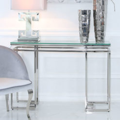 Ashton Glass And Stainless Steel Console Table Hallway Table