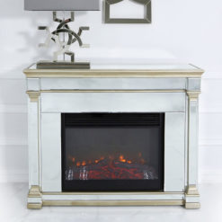 Athens Gold Mirrored Fireplace Fire Surround With Electric Fire Insert