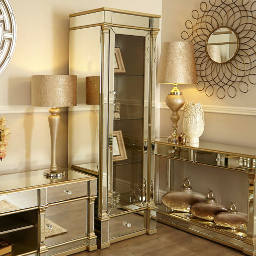 Athens Gold Mirrored Right Door 1 Drawer 4 Shelf Display Cabinet Chest
