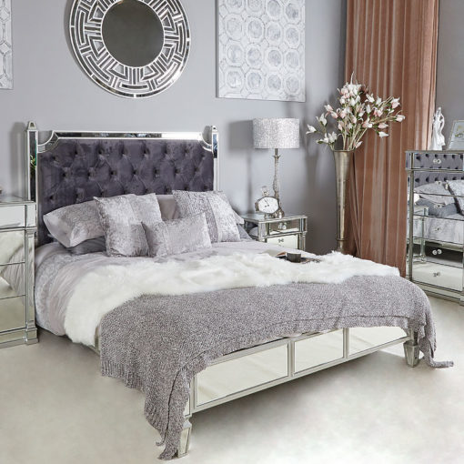 Athens Silver Mirrored King Size Bed Frame With Velvet Headboard