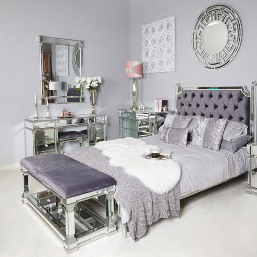 Athens Antique Silver Mirrored Upholstered Bed End Bench With A Velvet Seat