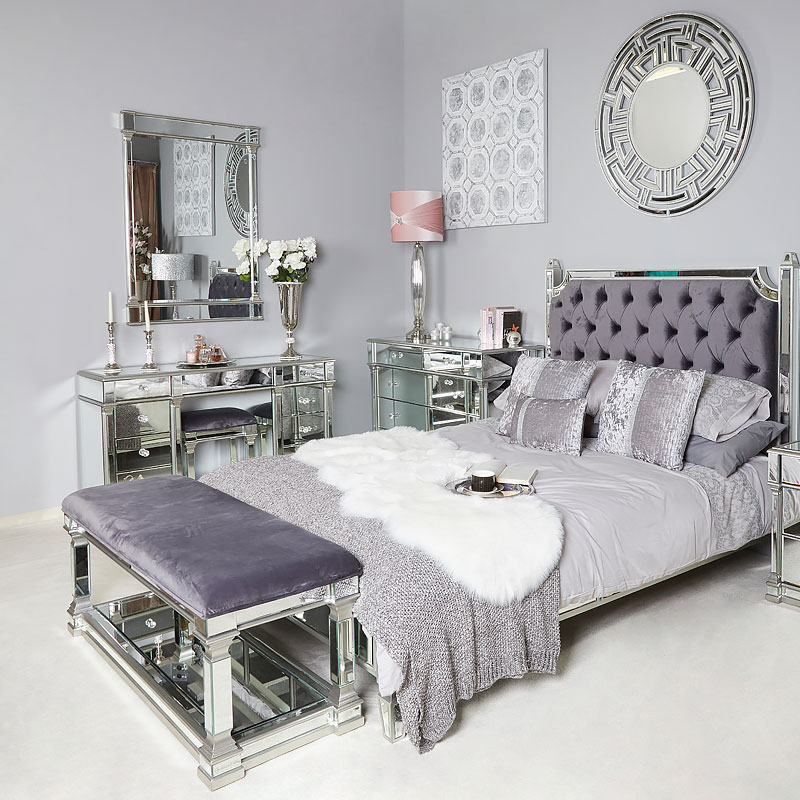 interesting hollywood bedroom furniture set | Athens Silver Mirrored Upholstered Bed End Bench With A ...