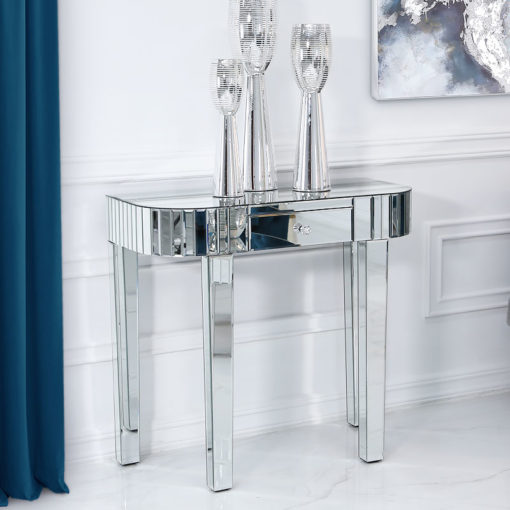 Classic Mirror 1 Drawer Mirrored Console Table With Tile Detail