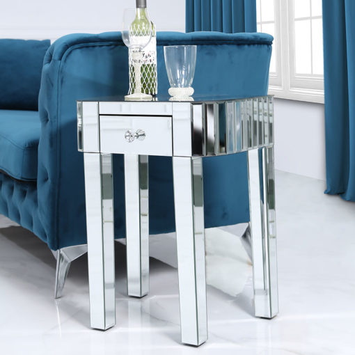 Classic Mirror 1 Drawer Mirrored End Side Lamp Table With Tile Detail