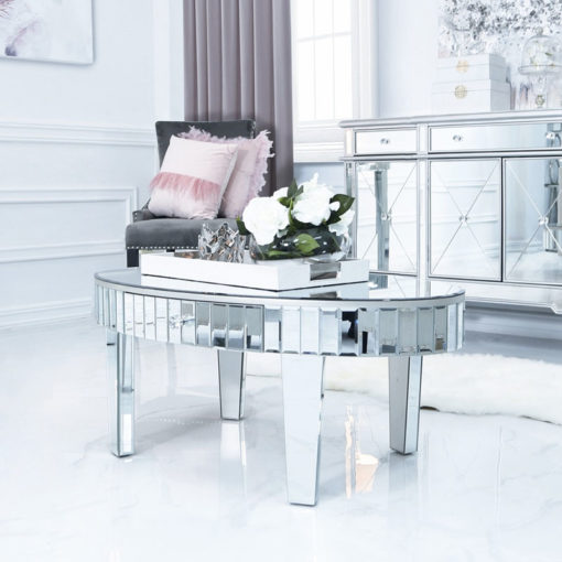 Classic Mirror Oval 1 Drawer Mirrored Coffee Table With Tile Detail