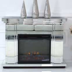 Classic Mirror Silver Mirrored Electric Fireplace Fire Surround